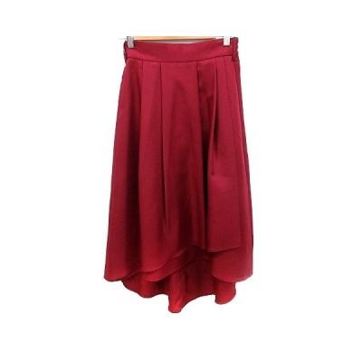 【中古】未使用品 ナノユニバース nano universe スカート フレア ロング 36 赤 レッド /RT レディース 【ベクトル 古着】