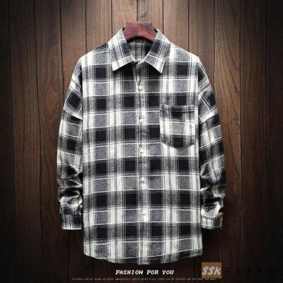 カジュアルシャツ メンズ 長袖シャツ 開襟シャツ 長袖 チェックシャツ シンプル コットン メンズ トップス