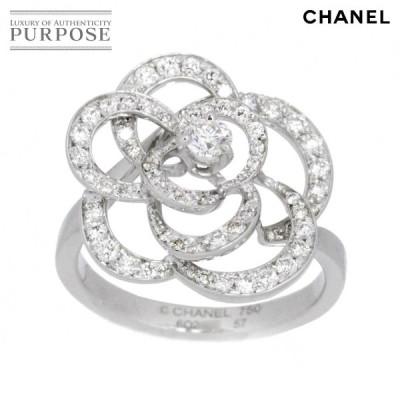 シャネル CHANEL カメリア ダイヤ リング #57 15.5号 リング K18WG 18金ホワイトゴールド 750 指輪 【証明書付き】