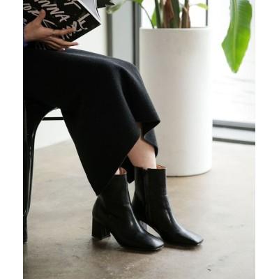 UNE MANSION / スクエアトゥーフェイクレザーブーツ WOMEN シューズ > ブーツ