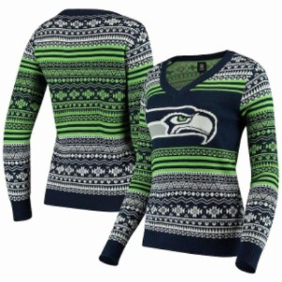 Forever Collectibles フォーエバー コレクティブル 服 スウェット Seattle Seahawks Womens College Navy Big Logo