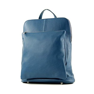 modamoda de - ital. Leather Backpack Backpack 3in1 Backpack Citybag T141, Colour:Jeans blue 並行輸入品
