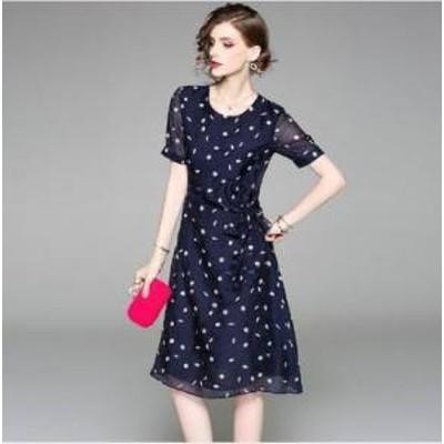 ドレス ワンピース ひざ下丈 半袖 ダークブルー 花柄 30代 上品 エレガント きれいめ 春夏 結婚式 お呼ばれ a786