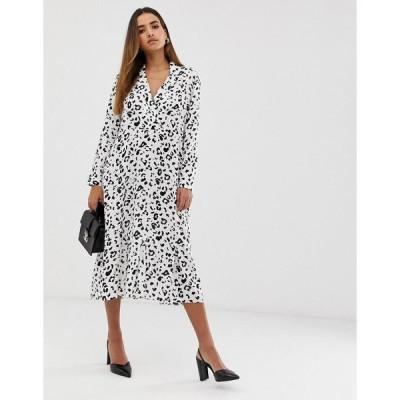 エイソス レディース ワンピース トップス ASOS DESIGN collar detail midi dress in mono leopard print Mono leopard