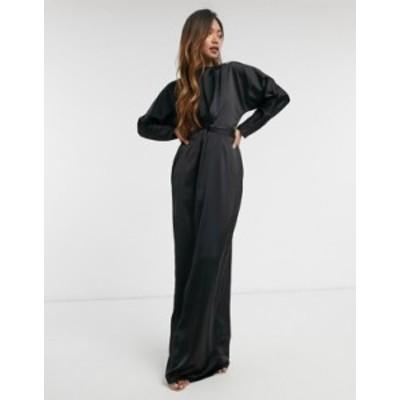 エイソス レディース ワンピース トップス ASOS DESIGN maxi dress with batwing sleeve and wrap waist in satin Black