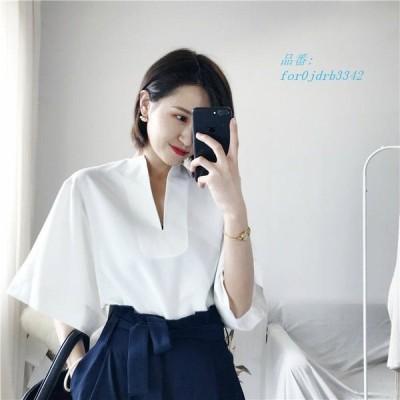 レディース キュート ブラウス 可愛い ゆるシルエット ショートシャツ フリーサイズ カジュアル Vネック半袖 白 トップス ホワイト オーバーサイズ