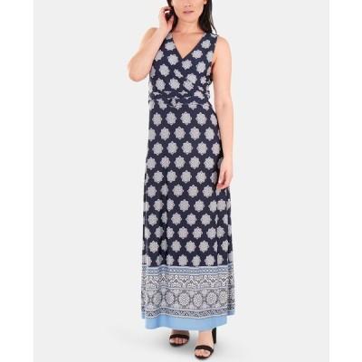 ニューヨークコレクション ワンピース トップス レディース Printed Wrap Dress Navy Morocco