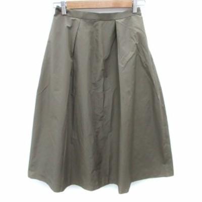【中古】キュー Q スカート フレア ロング丈 2 カーキ /FF22 レディース