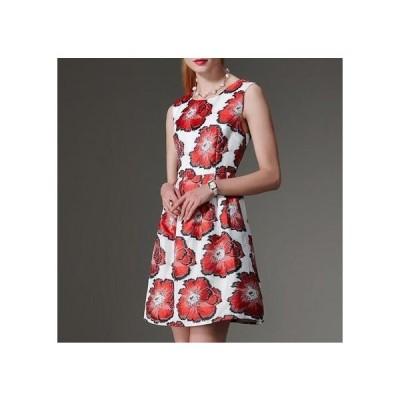 ドレス ノースリーブ 花柄 エレガント 可愛い デート パーティー