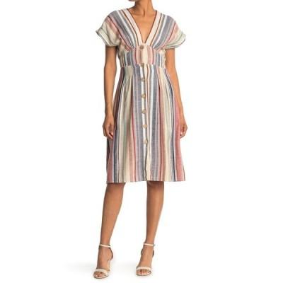 アンジー レディース ワンピース トップス Stripe V-Neck Button Front Dress MULTI