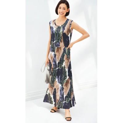 【大きいサイズ】 ノースリーブロング丈カットソーワンピース(オトナスマイル) ワンピース, plus size dress