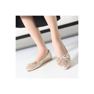 走れるパンプス フラットパンプス レディース ペタンコ ビジュー キラキラ リボン 2017 新作 春 ファッション 靴 婦人靴