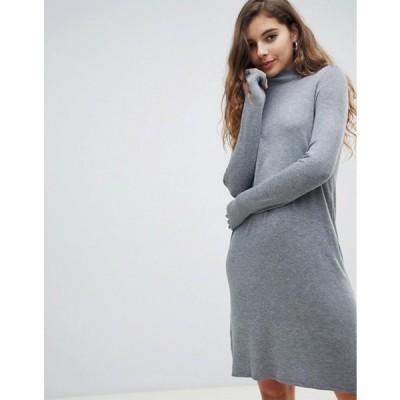 オンリー レディース ワンピース トップス Only lettuce hem knitted mini sweater dress in gray