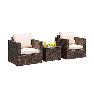 Tangkula 3 Pieces Patio Furniture Set, PE Rattan Wicker Sofa Set w/Washable Cushion and Tempered Glass Tabletop, Outdoor Conversation Furnit
