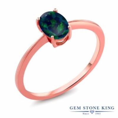 指輪 リング レディース 0.63カラット シミュレイテッド グリーンオパール 10金 ピンクゴールド(K10) 一粒 シンプル 細身 ソリティア 10