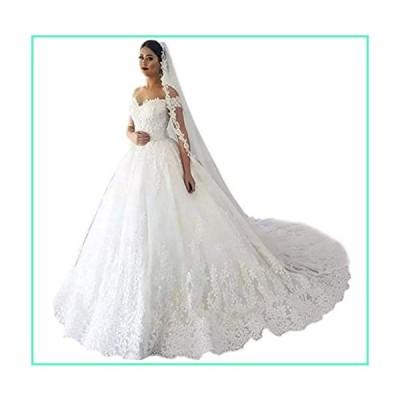 Andybridal Gorgeous Plus Size Off Shoulder Lace Court Train Bridal Gowns Wedding Dress for Bride 2020 White 2並行輸入品