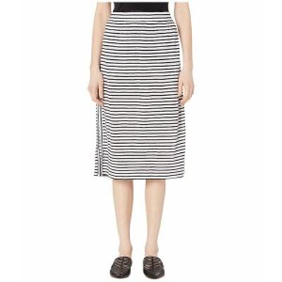 エイリーンフィッシャー レディース スカート ボトムス Organic Linen Jersey Stripe Calf Length Skirt White/Black
