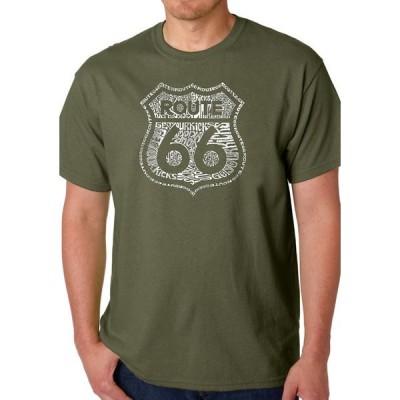 エルエーポップアート Tシャツ トップス メンズ  Word Art Graphic T-Shirt - Get Your Kicks on Route 66 Military