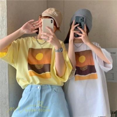 Tシャツ 半袖 レディース 韓国風 夏 人気 上品 丸首 トップス 着痩せ プリント ゆったり ワイドTシャツ 着回し おしゃれ M L XL アウトド
