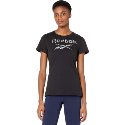 リーボック Reebok レディース Tシャツ ロゴTシャツ トップス Training Essentials Graphic Stack Logo Tee Black