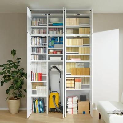 日用品もしまえる頑丈段違い書棚上置き(幅60cm) ホワイト