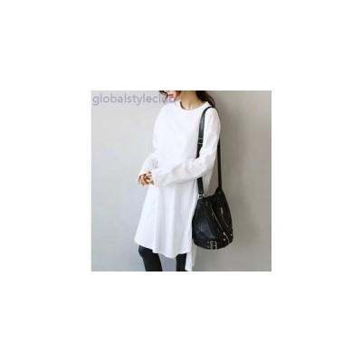 ロングTシャツ 長袖 3カラー フリーサイズ デイリーアイテム