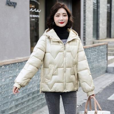 レディース ダウンコート 冬 中綿 ダウンジャケット 無地 ショート丈 防寒着 中綿コート 体型カバー アウター 暖かい 可愛い 冬服 通学 女性用 M-3XL
