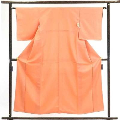 リサイクル着物 小紋 正絹オレンジ地花菱柄袷江戸小紋着物