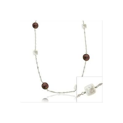 シルバースペック パール 925 ホワイト & Peacock Freshwater カルチャード スクエア & ラウンド パール Chain ネックレス