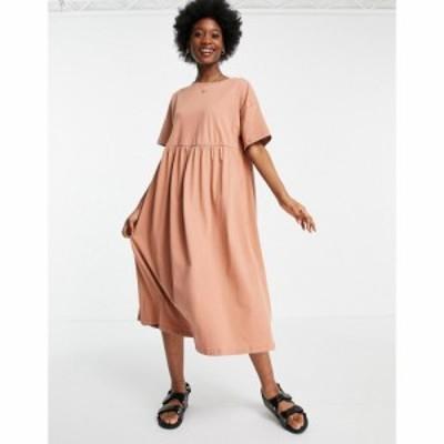 エイソス ASOS DESIGN レディース ワンピース ミドル丈 ワンピース・ドレス oversized midi smock dress in cork