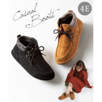 大きいサイズ レディース カジュアル ショート ブーツ 低反発中敷 ワイズ4E 靴 キャメル/黒 23.0~23.5/24.0~24.5cm ニッセン