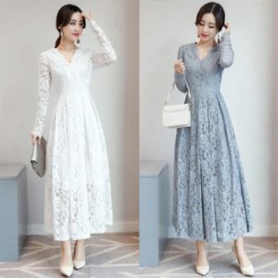 パーティードレス 結婚式 二次会 ワンピース 結婚式ドレス お呼ばれワンピース 30代 40代 ロングドレス 袖あり 黒 白 ピンク a1049