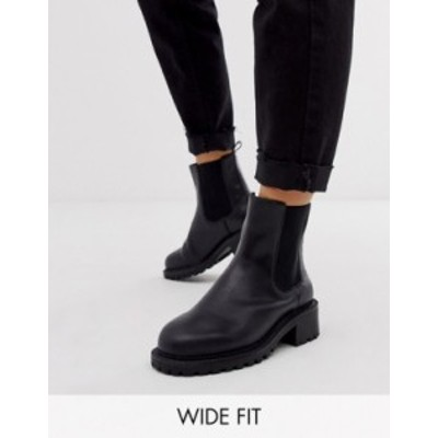 エイソス レディース ブーツ・レインブーツ シューズ ASOS DESIGN Wide Fit Action chunky chelsea boots in black Black