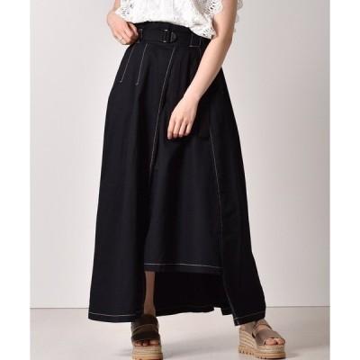 スカート ベルト付ロングフレアスカート