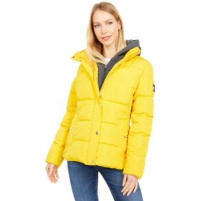 トミー ヒルフィガー レディース コート アウター Short Down Alternative Puffer with Zipout Fleece Hood Yellow