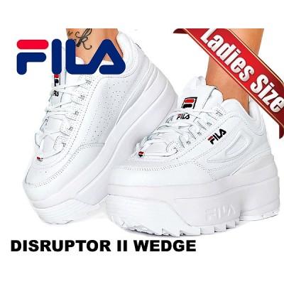 【フィラ ディスラプター 2 ウェッジ】FILA DISRUPTOR II WEDGE white/blue/red 5fm00814-125 厚底 スニーカー パテント ホワイト レディース