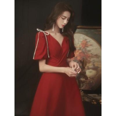 パーティードレス 10代 20代 30代 40代 ワンピース おしゃれ フォーマル お呼ばれ 赤 レディース カラードレス 結婚式 成人式 二次会 披露宴 カクテルドレス