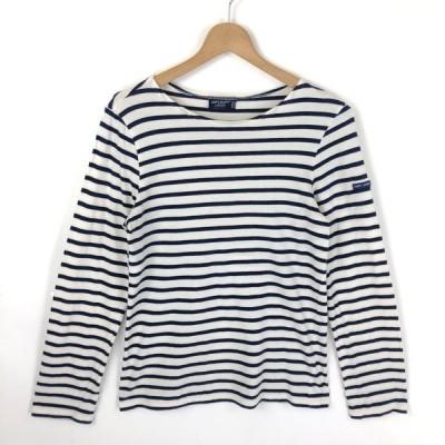 古着 SAINT JAMES セントジェームス L'ATELIER マリンボーダーTシャツ made in FRANCE 長袖 ホワイト系 レディースS 中古 n026412