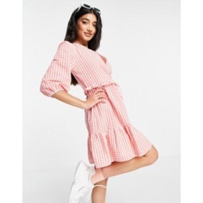 ニュールック レディース ワンピース トップス New Look wrap tie tiered mini dress in pink gingham Pink pattern