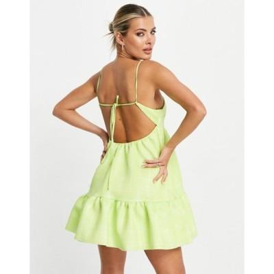 エイソス レディース ワンピース トップス ASOS DESIGN square neck cami smock mini dress in check print