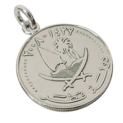 本物のカタールのコインペンダント(2) メイン メンズ レディース ネックレス 硬貨 アラビア