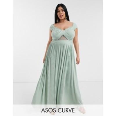 エイソス レディース ワンピース トップス ASOS DESIGN Curve premium lace and pleat bardot maxi dress Sage green