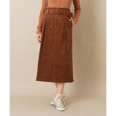 スカート AULI ベルト付コーデュロイタイトスカート