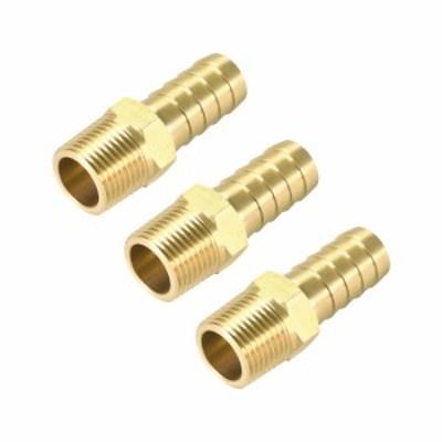 uxcell 真鍮バーブホースフィッティングコネクタアダプター 13mmバーブx10mmNPTオス パイプ 3個入り