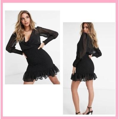 エイソス ドレス フリル スカート ASOS ドビーシャーリングスカートミニドレス