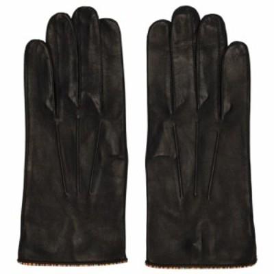 ポールスミス Paul Smith メンズ 手袋・グローブ Black Leather Signature Stripe Piping Gloves Black