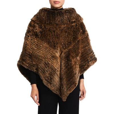 ラフィレンティーナ レディース シャツ トップス Cowl-Neck Knitted Fur Poncho