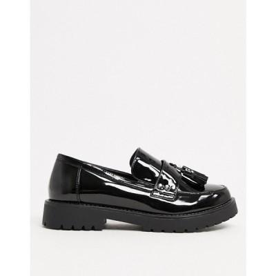 グラマラス Glamorous レディース スリッポン・フラット チャンキーヒール シューズ・靴 Chunky Flat Shoes In Black Patent ブラック