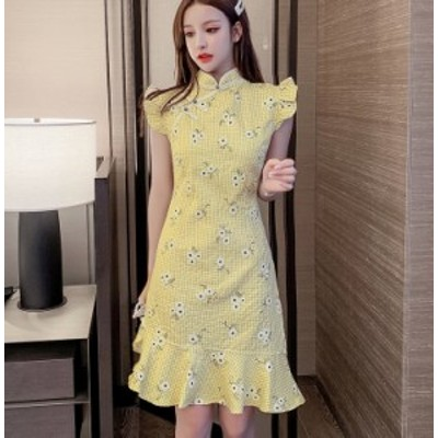 ワンピース フィッシュテール スカート ひざ上丈 スタンドカラー フリル  チェック柄 花柄 グリーン イエロー