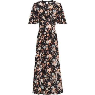 レ レヴェリズ LES REVERIES レディース ワンピース ワンピース・ドレス cutout floral-print silk crepe de chine midi dress Black